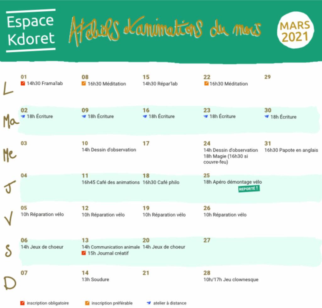Agenda de mars 2021 - Espace Kdoret