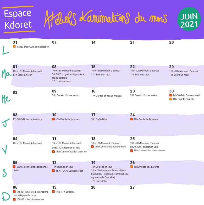 Agenda de juin 2021 - Espace Kdoret