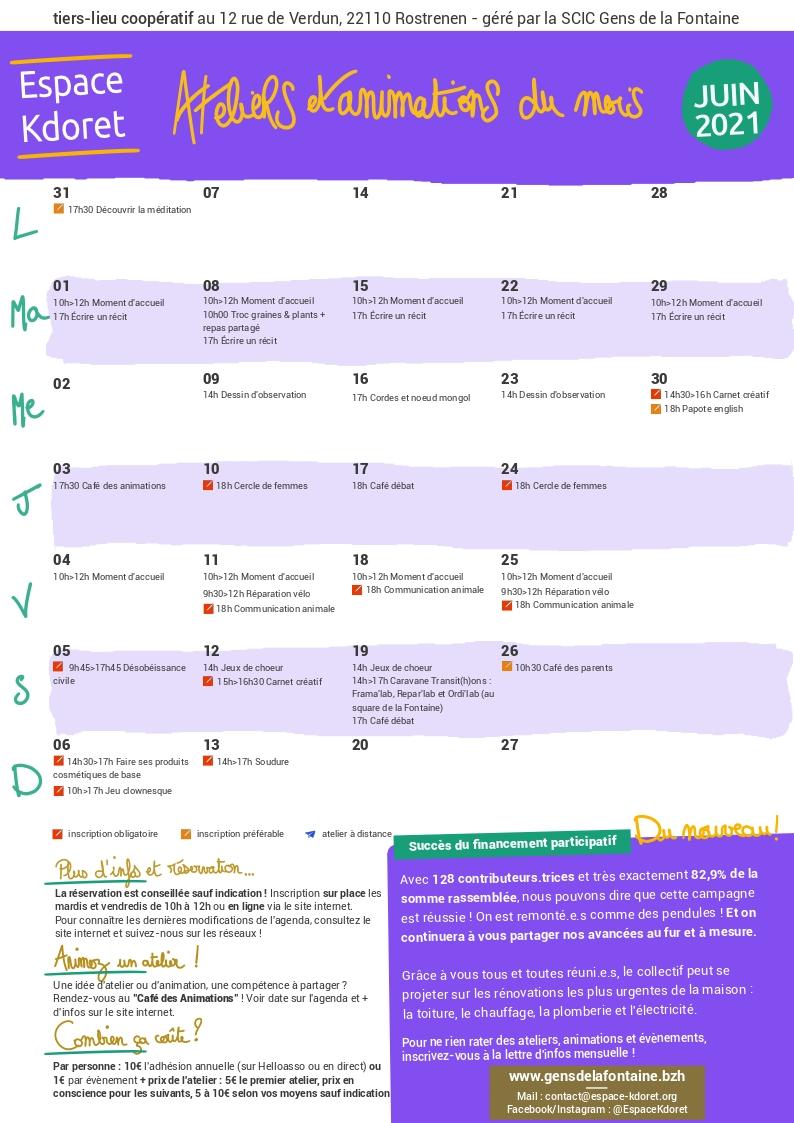 Agenda de juin 2021 : calendrier - Espace Kdoret