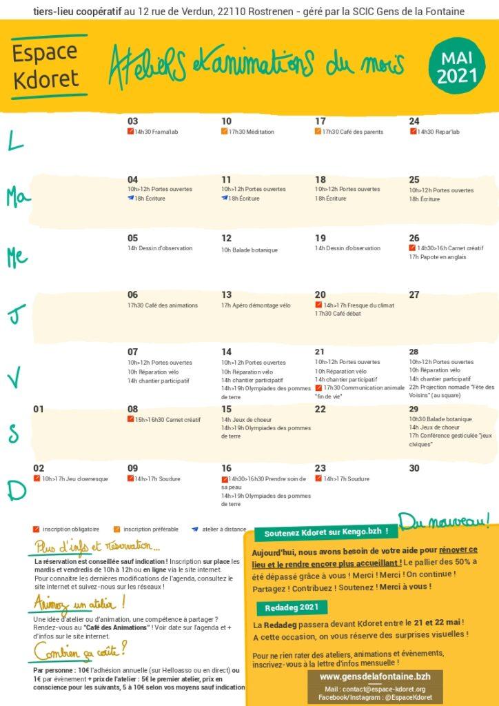 Agenda de mai 2021 : calendrier - Espace Kdoret