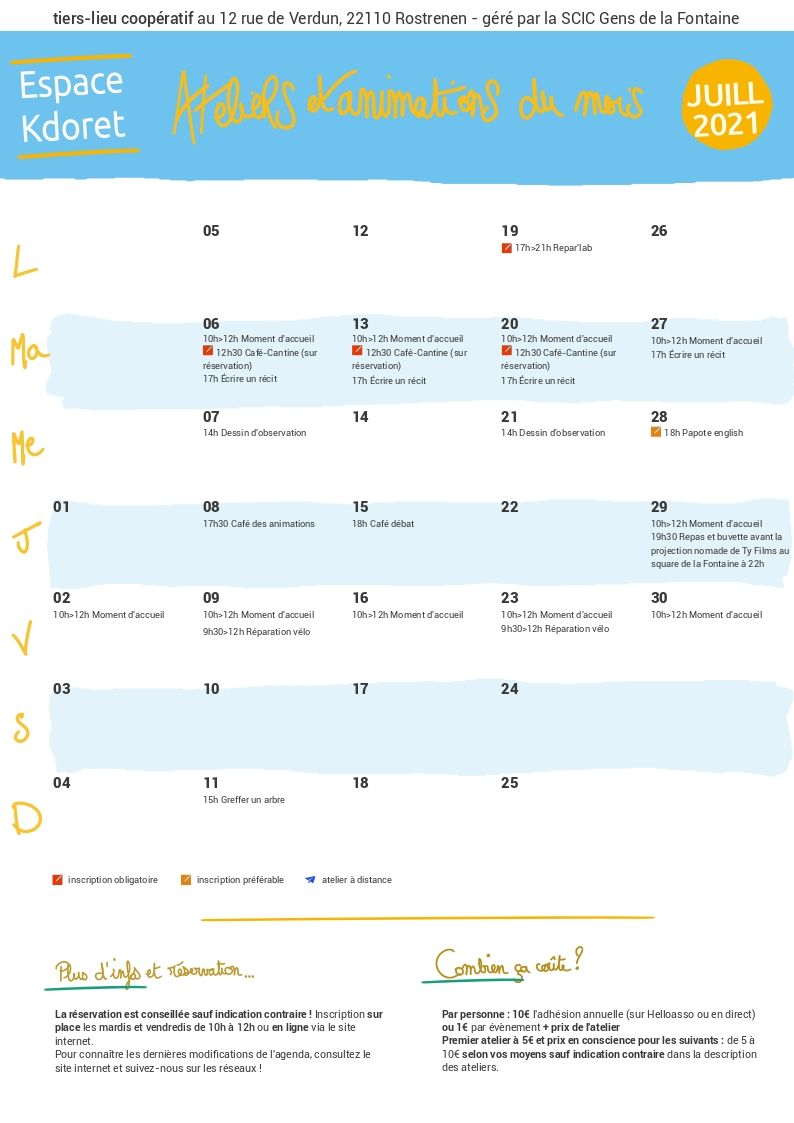 Agenda de juillet 2021 : calendrier - Espace Kdoret